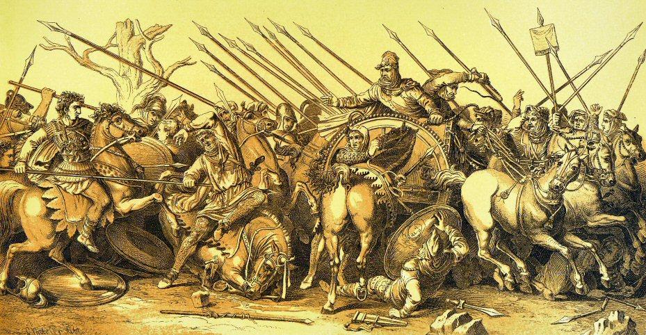 На карте, где состоялась решающая битва между войсками Александра …